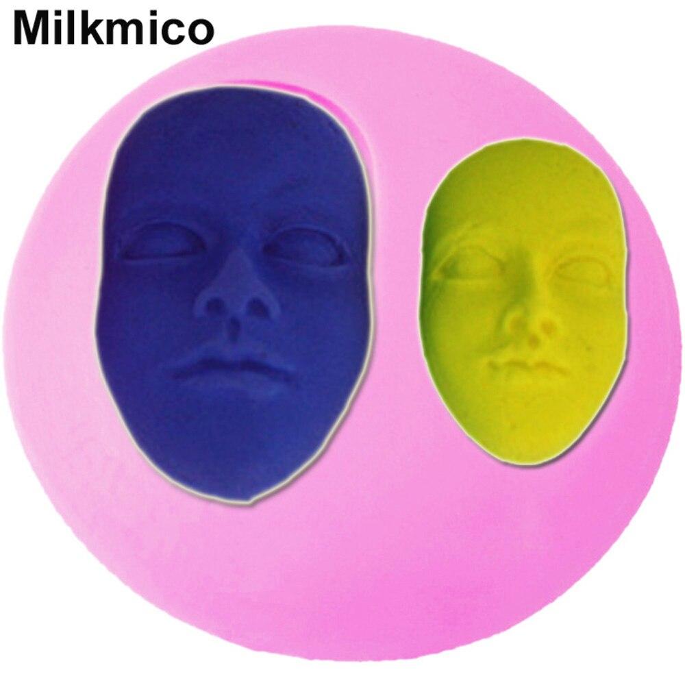 milkmico m111 human face mask shaped silicone molds fondant cake decoration sugar craft tools baking tools - Premium Halloween Masks