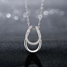 Free shipping 1 Pc Lucky Rhinestone Double Horse Hoof Horseshoe Pendant Necklace Silver Plated Top quality Fashion Jewelry