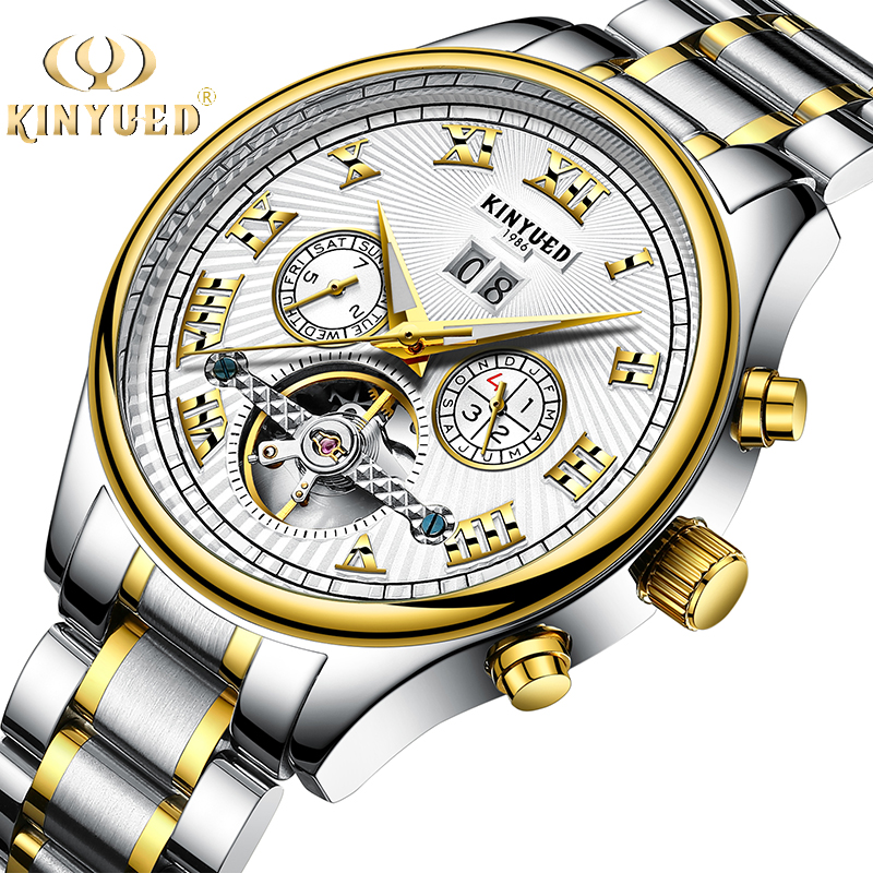 KINYUED Stainless Steel Automatic Mens Business Wrist Watches Luxury Brand Tourbillon Men Mechanical Watch relojes masculion<br>