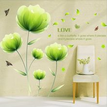 Spring Fruit Green Flowers Love DIY Wall Stickers Living Room TV/Sofa Backdrop Decor Mural Decal Wallpaper AY9237