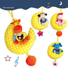 Hot Sell Plush Cute Children Lullaby Mobile Moon Cute Animal Music Bed Bell Toys Baby Rattles FL(China)