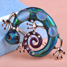 5 pcs Wholesale Esmalte Natural Geoko Opals Brooches For Women Kids Gold color Lizard Broches Hijab Pins Scarf Party Bijuterias(China)