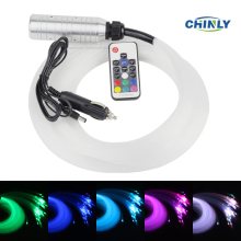 Car use DC12V 6W RGB LED plastic Fiber Optic Star Ceiling Kit Light 100pcs 0.75mm 2M +17key Remote optical fiber Lights Engine(China)