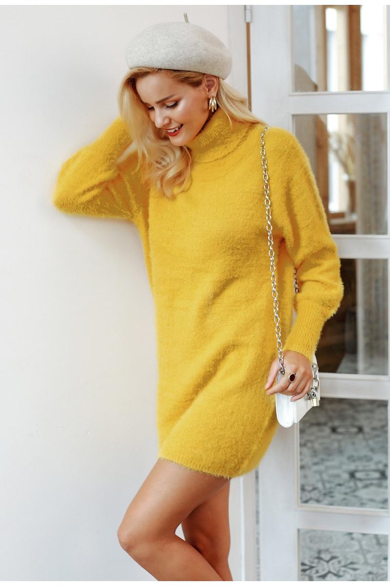 Turtleneck latern sleeve sweater dress Yellow bodycon