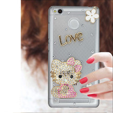 2017 Luxury Diamond Cell Phone Case Shell For Xiaomi Redmi 3/3S.Bling Cute Cartoon Pattern Smart Phone Case For XiaoMi RedMi 3X