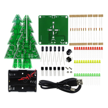 Three-Dimensional 3D Christmas Tree LED DIY Kit Red/Green/Yellow LED Flash Circuit Kit Electronic Fun Suite(China)