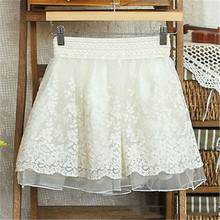 Skirt New 2017 Korean Full Lace Embroidery Tulle Skirt Mini Skirts Fashion Woman Skirts Pleated Skirt