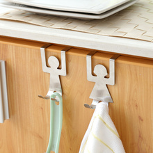 2pcs/set Stainless Steel Cabinet Door Drawer Hook Clothes Hanger Towel Holder Home Organizer Kitchen Accessories