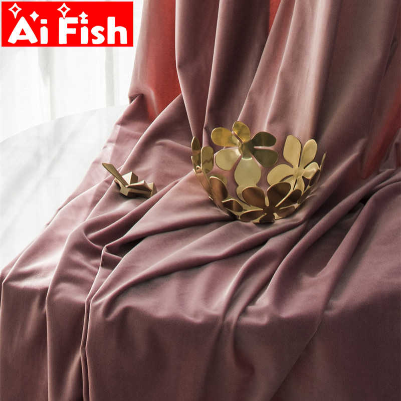 High-grade Thick Silk Velvet Curtain Finished Products Modern Simple Solid Blackout Window Curtains Sun-Shade Panels  DF071#40