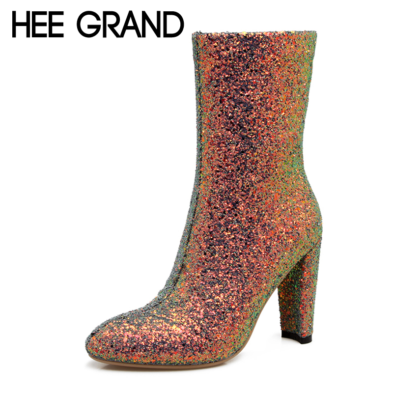 HEE GRAND Zipper Women Ankle Boots Casual Platform Sexy Shoes Woman Bling Bling High Heels Slip On Winter Women Shoes XWX6245<br>