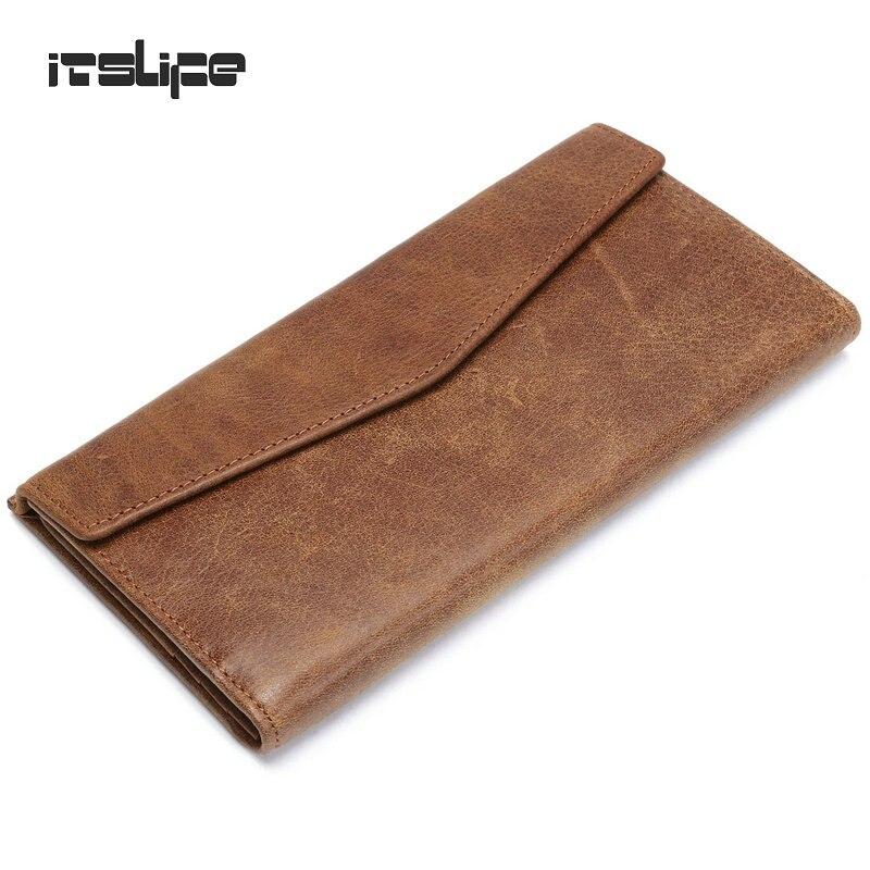 2017 new arrival Mens Genuine Leather Long Envelope Wallet cowhide bifold purse card holder vintage money case<br><br>Aliexpress