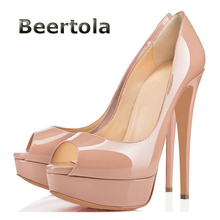 Beertola Fashion Peep Toe Platform Shoes Women Pumps Sexy Extreme High Heels Black Nude Patent Leather Evening Shoes On Sale(China)
