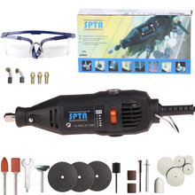 SPTA 130W Variable Speed Electric Rotary Tool Dremel Style Mini Drill with Safety Glasses and Accessories For Dremel Rotary Tool(China)