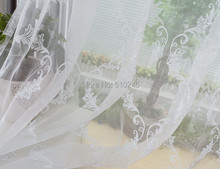 new arrival customized fashion design white embroidered  sheer door window screening hook style organza day curtain tulle