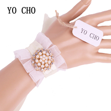 YO CHO Graduation Girl Bracelet Bridesmaid Sisters Hand Flower Party Prom Bridal Wedding Ivory Ribbon Rhinestone Wrist Corsage