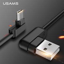 USAMS Type C Data Cable L Bending USB C Charge Cables Samsung Xiaomi Data Sync USB Phone Cable Fast Charging Cable type-c
