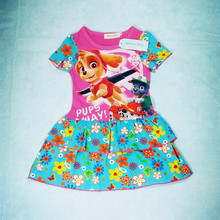 Brand children's clothing 2017 Europe and the United States the new summer girls stitching lovely cartoon doggy dress