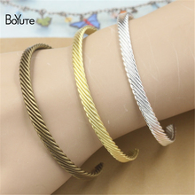 BoYuTe 10 Pieces Wholesale Bangles 3 Colors Vintage Carved Simple Brass Bangle(China)
