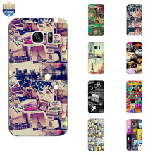 Phone Case For S4 S6 S7 Edge Plus Back Cover Samsung Galaxy C5 C7 C7000 Shell Soft TPU Protection Puzzle Design Painted