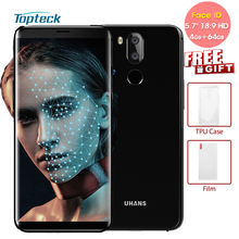 "UHANS I8 Face Recognition 5.7"" 18:9 FHD+ Smartphone 4GB RAM 64GB ROM MTK6750T Octa Core Front 8MP Back Dual 16+3MP Mobile Phone(China)"