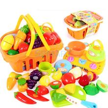 Shopping Fruit Vegetable Basket Supermarket Kids Role Pretend Toy Set of 17