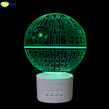 FUMAT Novelty Death Star 3D Lamp Noverlty Death Star 3D Bluetooth Speaker USB Music Night Light Color Changeable Lampara Gift