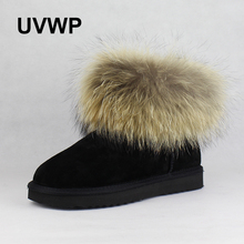 UVWP Fashion Top Quality Raccoon fur Snow Boots Women Boots Genuine Leather Winter Warm Snow Boots Ankle Boots Free Shipping(China)
