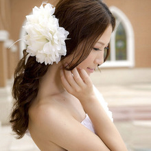 Women Hairpin Flower Orchid Bridal Wedding Flower Hair Clip Brooch Barrette Headpiece