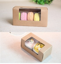 Joy Paper Kraft  paper cookie boxes with clear window,kraft  Macaroon boxes paper Chocolate Packaging Box, Wedding Gift Box