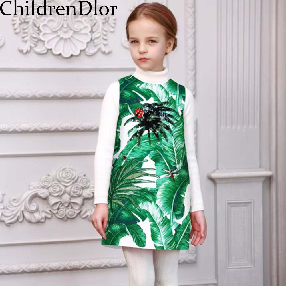 Robe Fille Enfant Kids Dresses for Girls Clohtes with Tropical Print 2017 Brand Children Dress Sequins Princess Costume<br><br>Aliexpress