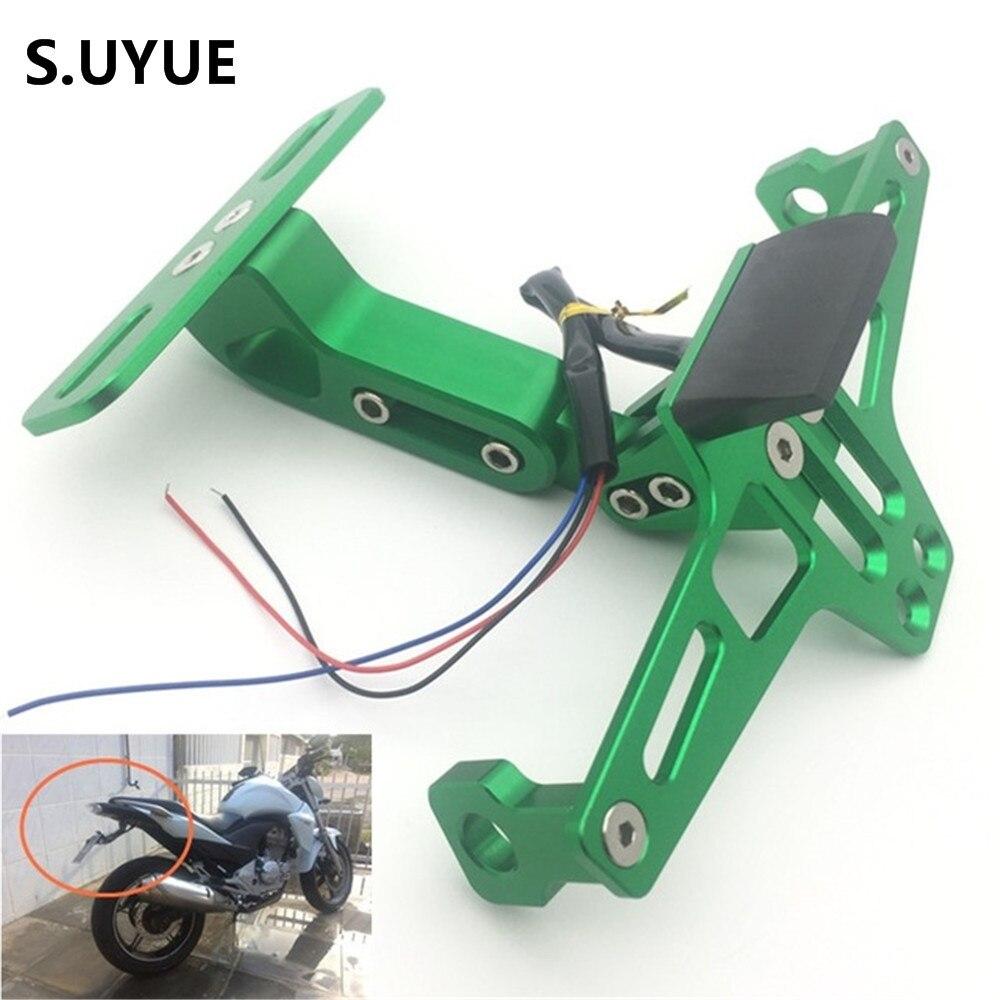 Aluminum Adjustable Angle Motorcycle License Number Plate Frame Holder Bracket For Kawasaki Z800 z750 z1000 EX ninja 250 300 <br>