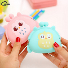 Kawaii Candy Owl Wallet Silicone Small Pouch Cute Coin Purse for Girl Key Rubber Wallet Children Mini Animal Case Storage Bag(China)