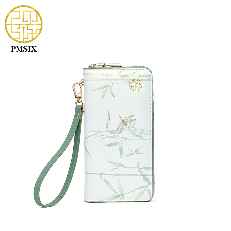 Pmsix 2017 Printing Cattle Split Leather Wallet Zipper Brand Long Womens Wallets Purses Green Ladies Clutch Wallet 420068<br>