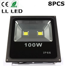 8pcs 100W Led Flood light Waterproof Led IP65 Floodlight AC85-265V Outdoor lighting garden Spot football field lighting(China)