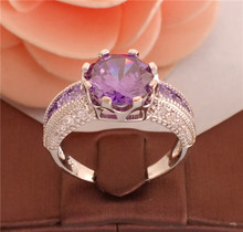 Free Shipping 1pc 925 Sterling silver Purple Around Cubic Zirconia CZ Party Pretty women's finger rings TC018/TF181/TG404