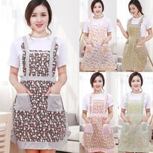 1Pcs Double Pockets Flower Apron Woman Adult Bibs Home Cooking Baking Coffee Shop Cleaning Aprons Kitchen Accessories 46006