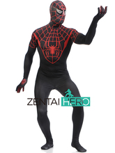 Free Shipping DHL Adult Lycra Printing Spiderman Unique Black Red Stripe Zentai Costume Jumpsuit For Halloween Events SP1722