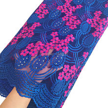 2016 Latest Swiss Voile Lace For Wedding African Lace Fabric High Quality Royal blue Pink  French Lace Fabric For New Fashion