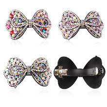 M MISM 1 PC Fashion Korean Glitter Hairpins Women Bowknot Barrettes Ornaments Headdress Lovely Rhinestone Bow Hair Clips(China)