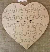 custom rustic puzzle wedding day guest books Alternative hearts Wooden guestbooks Reception party favors decorations