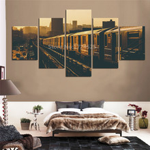 Wall Art Home Decor For Living Room Unframe Canvas Pictures 5 Pieces Retro Photograph Train City Canvas Painting Artwork