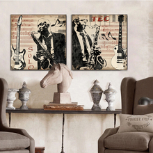 Musical instrument saxophone men Portrait pop art canvas wall art home decoration painting the living room office picture Cafe