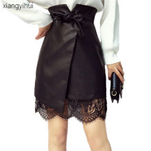 Buy Irregular Lace Stitching Pu Leather Skirt Women Faux Leather Sashes High Waist Mini Skirts Office Ladies Work Streetwear 2017 for $21.72 in AliExpress store
