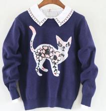 Cartoon sweet little kitty o-neck long sleeve Knitted Pullover sweaters mori girl 2017autumn winter