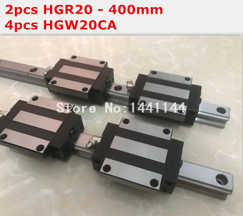 HG linear guide 2pcs HGR20 - 400mm + 4pcs HGW20CA linear block carriage CNC parts<br>