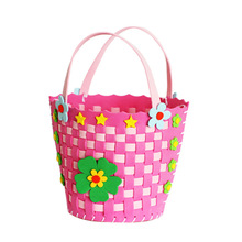 Hot Sale DIY Handmade Flower Basket Creative Kids Knitted Woven Basket Toys For Children Early Develoment Funny Craft By Kids(China)