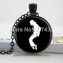 Buy HZ--A283 Glass Necklace Michael Jackson Necklace zinc alloy glass retro chain music fans glass photo pendant necklace HZ1 for $1.13 in AliExpress store