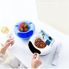 Creative Multifunctional Small Plastic Dry Fruit Seeds Snacks Storage Boxes With Garbage Holder Lazy Phone Rack Storage Plate