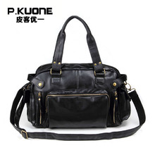 P.KUONE 2017 Special Offer Men Shoulder Bag Famous Brand Soft PU Leather Handbag Big Capacity Designer Travel Bag Male Crossbody(China)