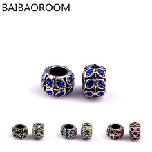 Alloy bead Leaves charms with Crystal Charm Beads Fit Pandora Bracelets & Bangles Jewelry